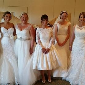 Some of our REAL BRIDES Doing the catwalk at a wedding fayre in their very own gowns...