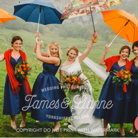 Amy & her Bridesmaid with fabulous bursts of colour